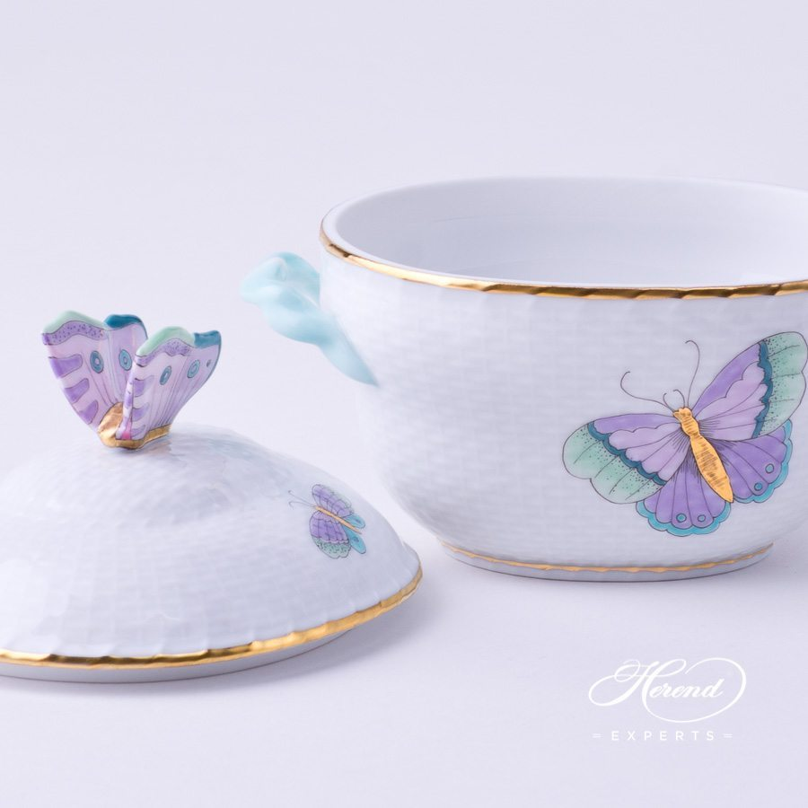Sugar Basin / Candy Jar w. Butterfly Knob 6012-0-17 EVICTP2 Royal Garden Turquoise Butterfly design. Herend fine china
