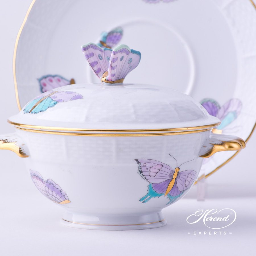 Soup CupandLid w. Saucer 740-0-17 EVICTP2 Royal Garden Turquoise Butterfly pattern. Herend fine china hand painted