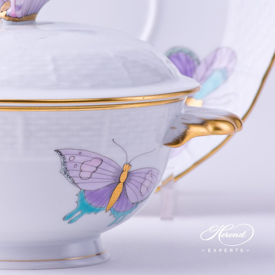 Soup Cup with Lid 740-0-17 EVICTP2 Royal Garden Turquoise pattern. Herend porcelain hand painted