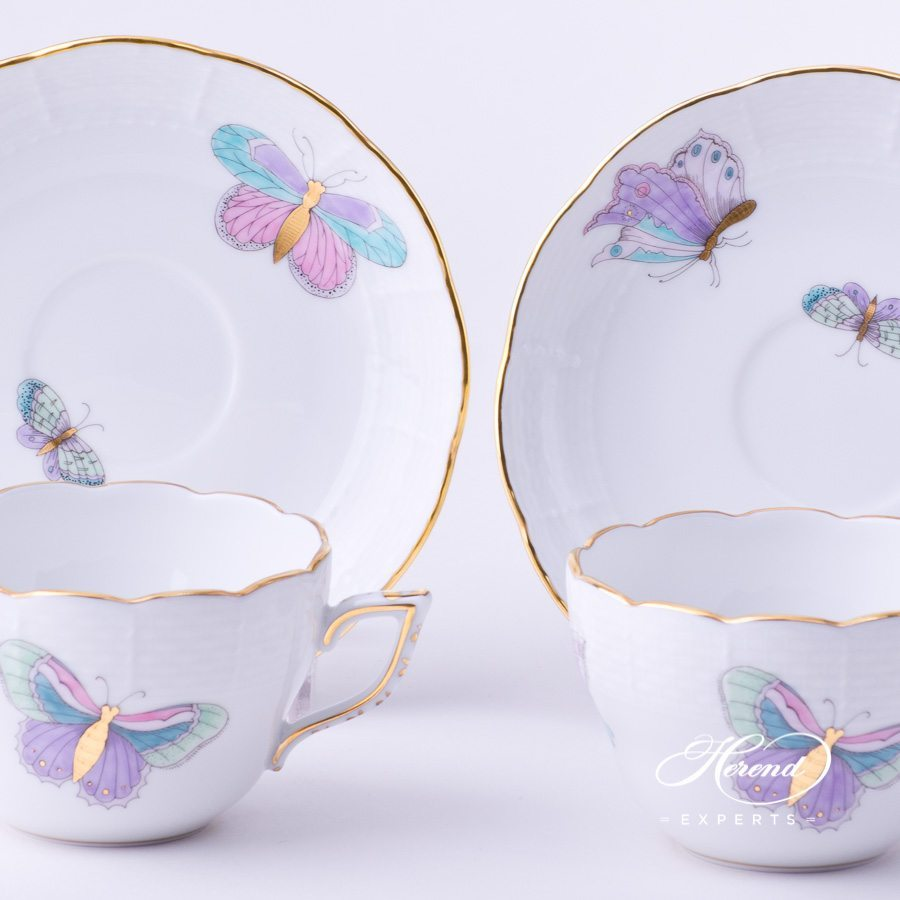 Tea Cup / Coffee Cup730-0-00 EVICTP2 Royal Garden Turquoise Butterfly design. Herend fine china hand painted