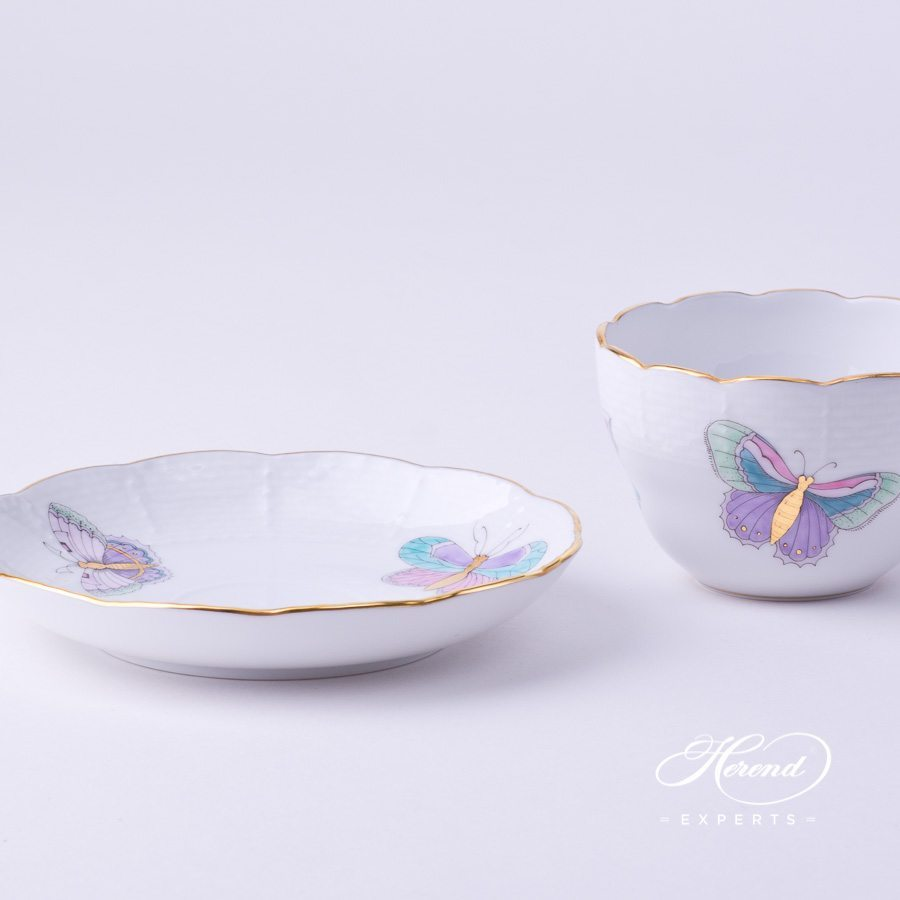 Tea Cup with Saucer 730-0-00 EVICTP2 Royal Garden Turquoise Butterfly pattern - Herend porcelain hand painted.