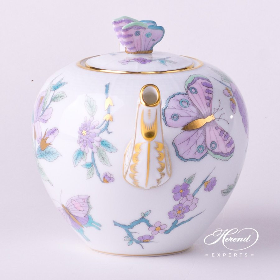 Tea Pot w. Butterfly Knob 605-0-17 EVICT2 Royal Garden Turquoise design. Herend fine china hand painted