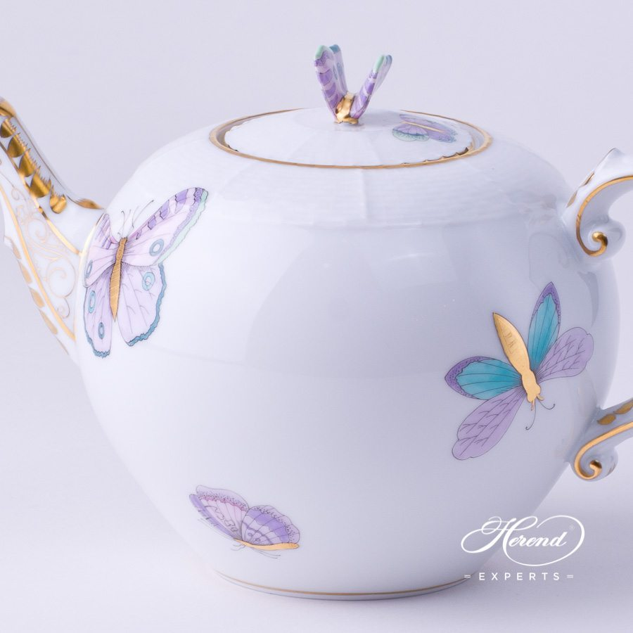 Tea Pot with Butterfly Knob 604-0-17 EVICTP2 Royal Garden Turquoise Butterfly decor. Herend porcelain hand painted