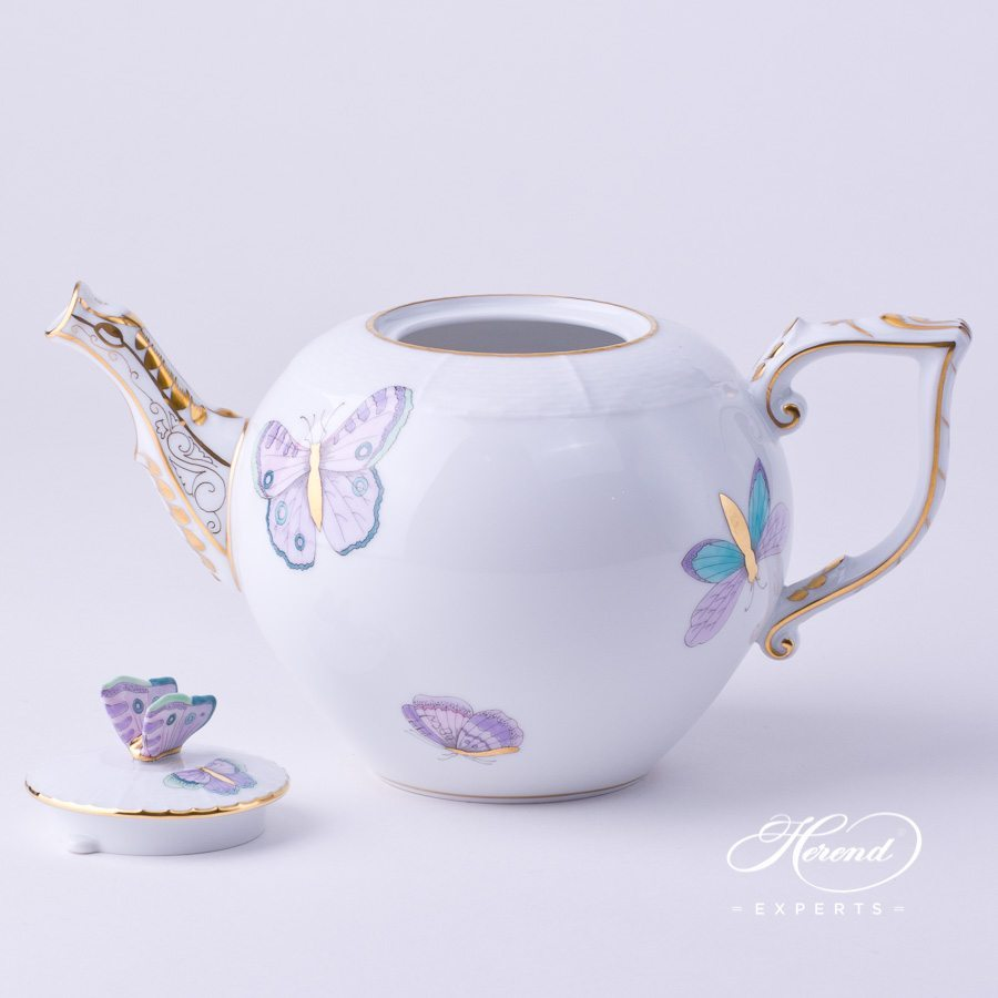Tea Pot with Butterfly Knob just by 604-0-17 EVICTP2 Royal Garden Turquoise Butterfly decor. Herend porcelain hand painted