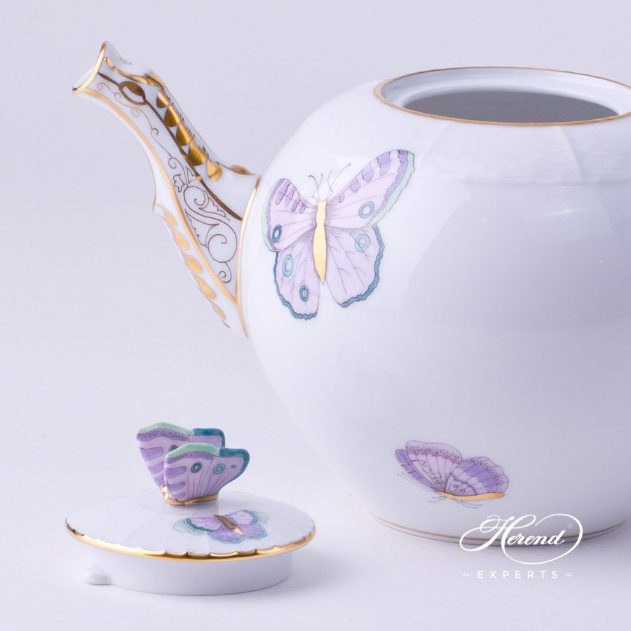 Tea Pot with Butterfly Knob 604-0-17 EVICTP2 Royal Garden Turquoise Butterfly design. Herend fine china hand painted