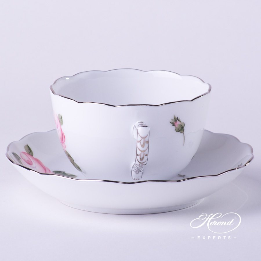 Tea Cup 20701-0-00 VGR-PT Vienna / Viennese Rose Platinum design. Herend fine china hand painted. Large Teacup