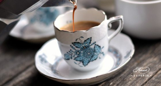 Mocha Cup / Espresso Cup Apponyi Turquoise ATQ3-PT pattern - Herend fine china.
