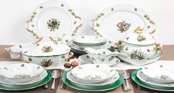 Dinner Set for 6 People - Herend Forest AnimalsCHTM design. Herend fine china