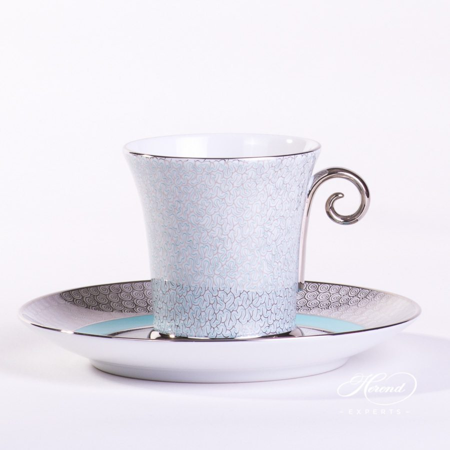 Tea Cup with Saucer 4917-0-00 ONIXTQ-PT Turquoise pattern - Herend porcelain hand painted.