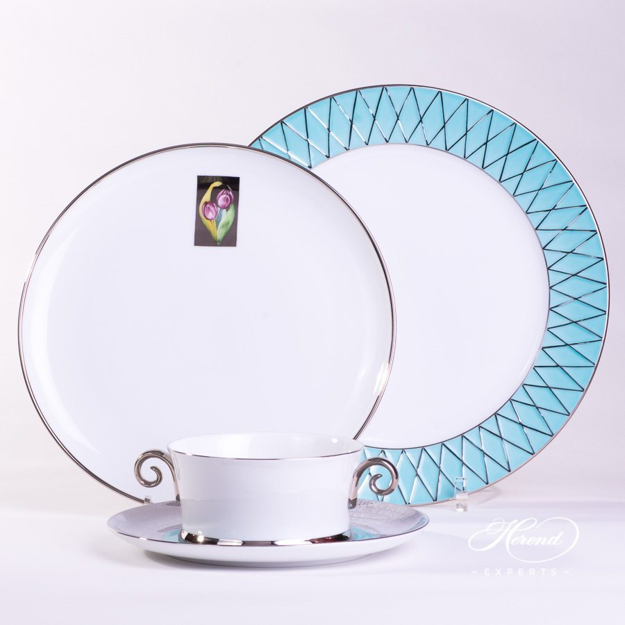Place Setting 4 Piece - Hermitage Turquoise Set - Herend porcelain hand painted.