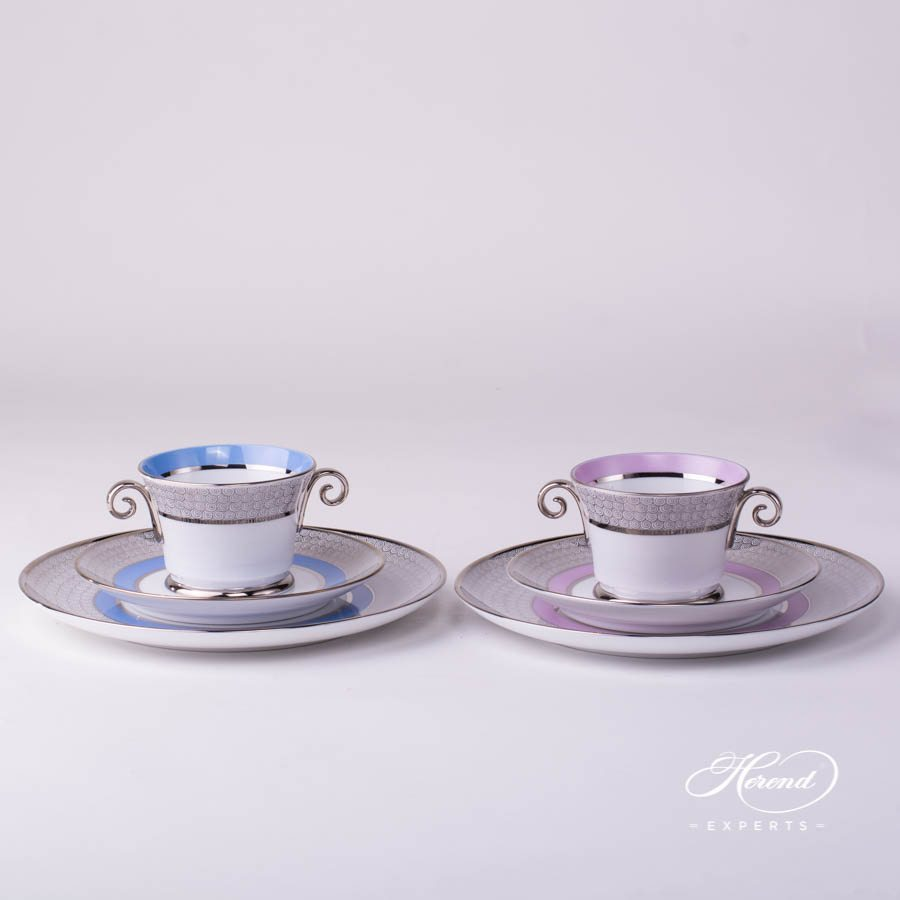 Breakfast Set 3 Piece - Orient Blue and Orient Lilac with Platinum patterns - Herend porcelain hand painted.