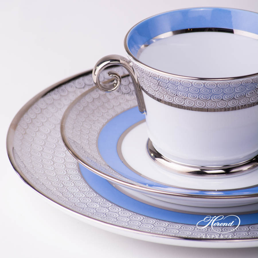 Breakfast Set 3 Piece - Orient Blue with Platinum pattern - Herend porcelain hand painted.
