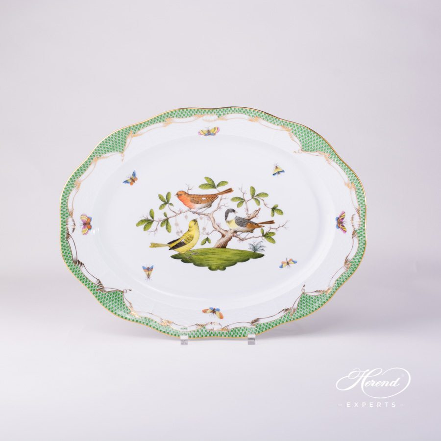 Rothschild Bird green fishnet pattern Oval Dish Herend porcelain.