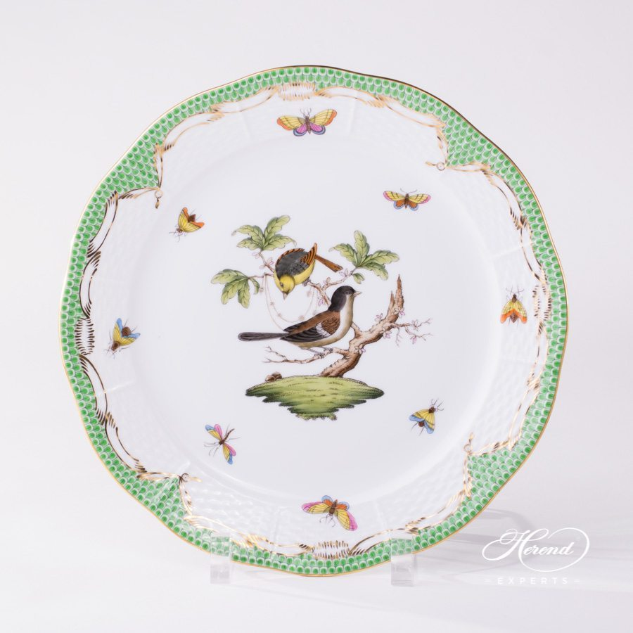 Rothschild Bird green fishnet pattern Dinner Plate Herend porcelain.