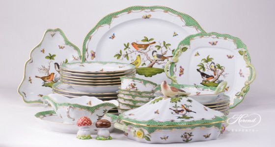 Dinner Set for 6 Persons \u2013 Rothschild Bird Green Fish Scale & Dinner Sets | Herend Experts