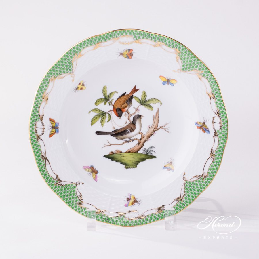 Soup Plate 504-0-00 RO-ETV Rothschild Bird Green Fish Scale pattern. Herend fine china hand painted. Tableware