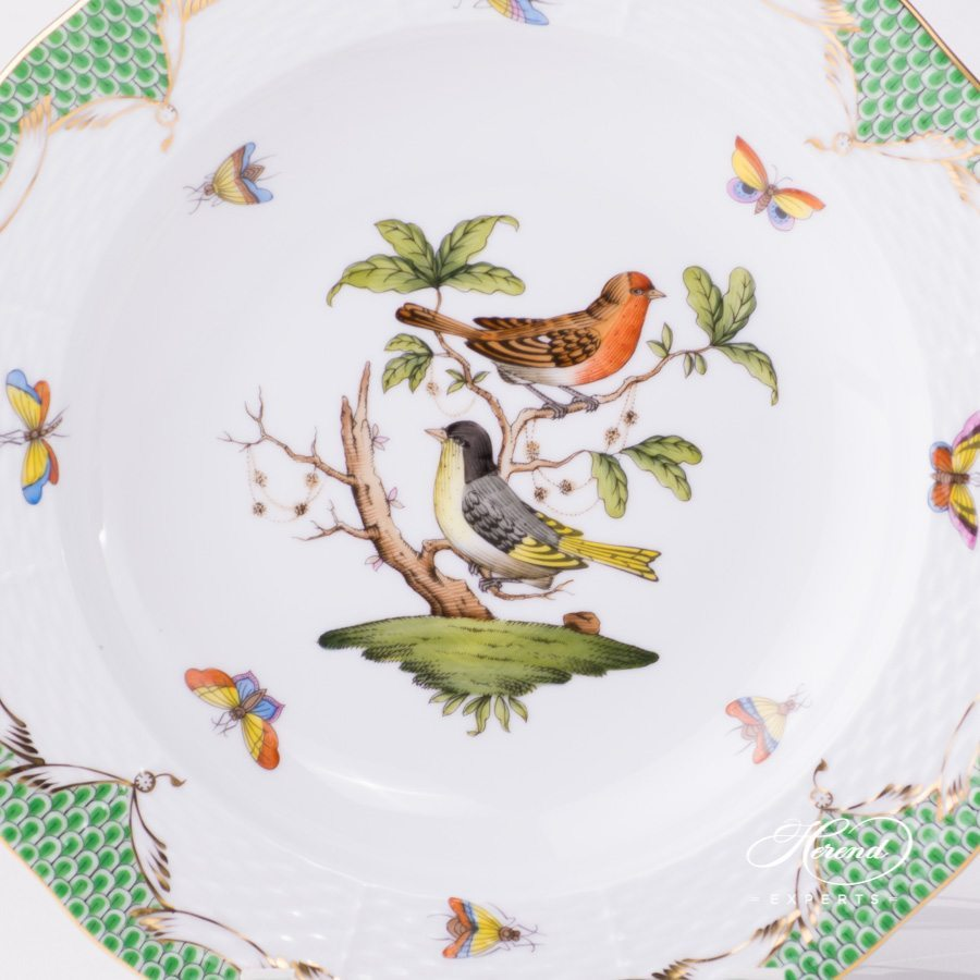 Rothschild Bird green fishnet pattern Soup Plate Herend porcelain.