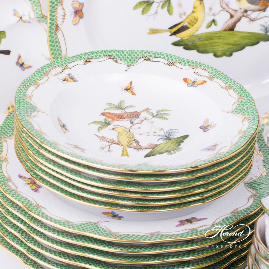 Rothschild Bird green fishnet pattern Dinner Set for 6 persons - Herend porcelain.