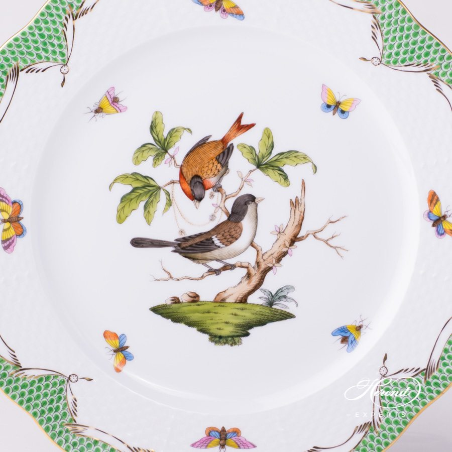 Serving / Service Plate 527-0-00 RO-ETV Rothschild Bird Green Fish Scale pattern. Herend fine china hand painted. Tableware