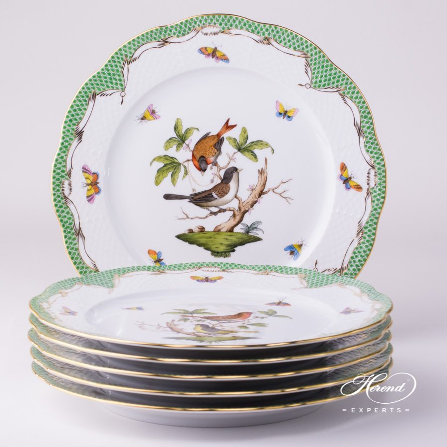 Serving / Service Plate - 6 pc 527-0-00 RO-ETV Rothschild Bird Green Fish Scale pattern. Herend fine china hand painted. Tableware