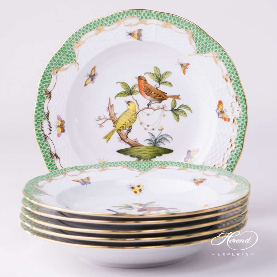 Rothschild Bird green fishnet 6 pieces Soup Plates Herend porcelain.