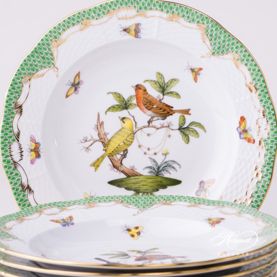 Soup Plate - 6 pc 504-0-00 RO-ETV Rothschild Bird Green Fish Scale pattern. Herend fine china hand painted. Tableware