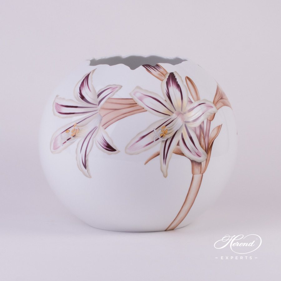 Vase Lily - Big Amaryllis Flower 7343-0-00 GRF-AV pattern - Herend porcelain hand painted.