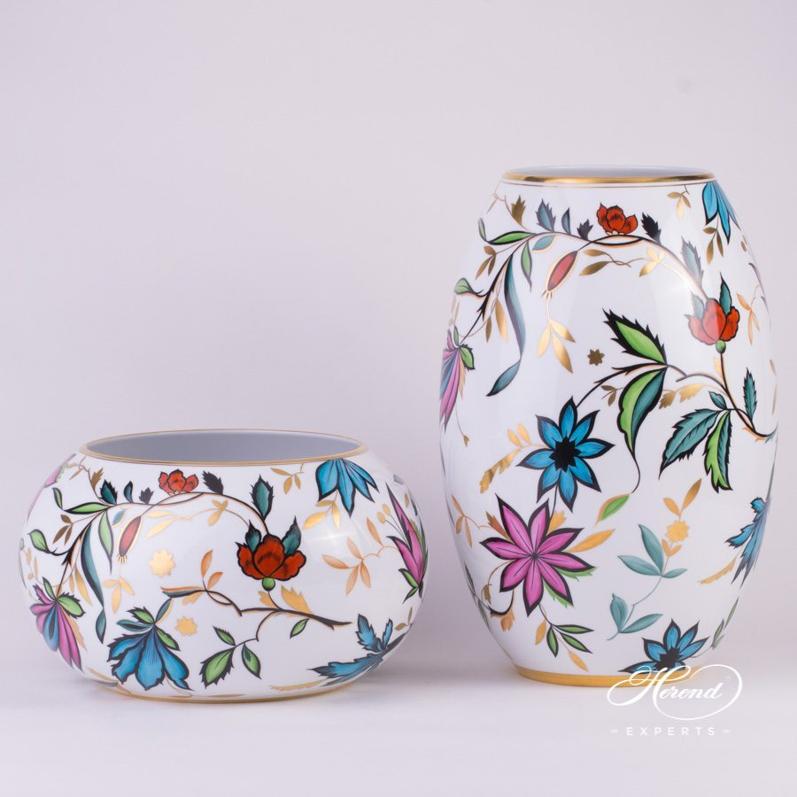 Vase big Art Deco 7007-0-00 SP837 and Vase Art Deco 7006-0-00 SP837 Special pattern - Herend porcelain hand painted.