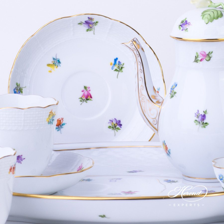 Coffee Set for 2 Persons Thousand Flowers - MF pattern - Herend porcelain hand painted.