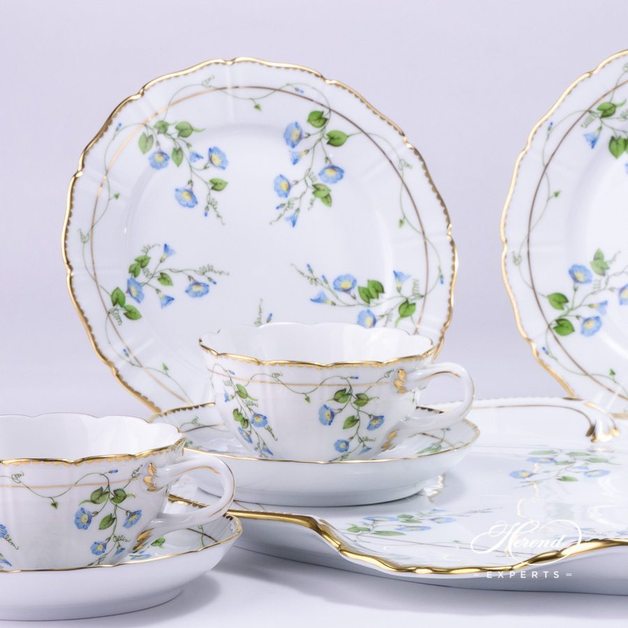 Special Tea Set for 2 Persons - Herend Nyon / Morning Glory design. Special Shape. Double Handles. Herend fine china tableware. Hand painted