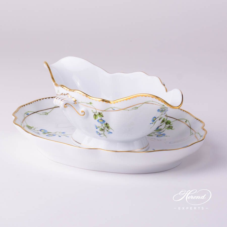 Sauce Boat and Oval Dish Nyon - Morning Glory pattern - Herend porcelain hand painted.
