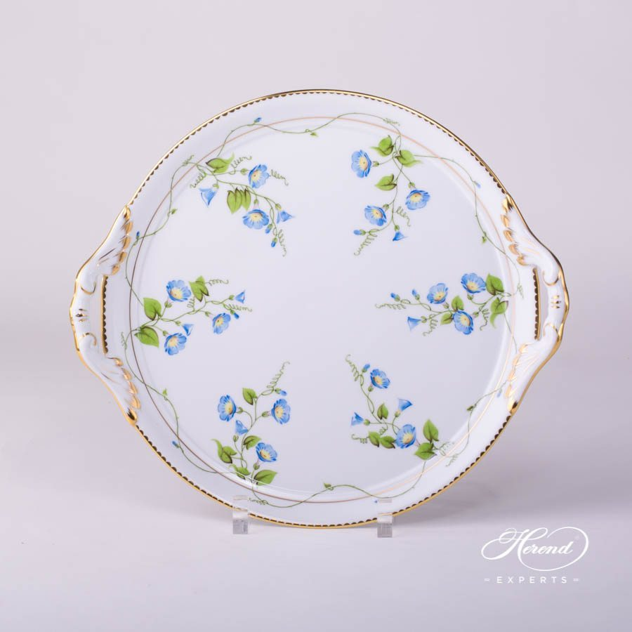 Cake Plate with Handle 20315-0-00 NY Nyon / Morning Glory Flower pattern. Herend fine china tableware. Hand painted
