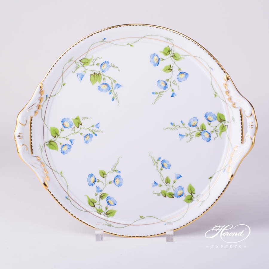 Cake Plate with Handle 2315-0-00 NY Nyon - Morning Glory pattern - Herend porcelain hand painted.