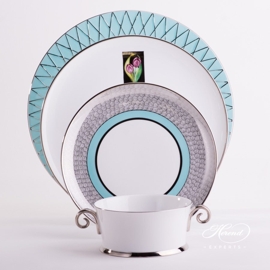 Place Setting w. Soup Cup 4 Pieces - Herend Hermitage Turquoise Set. Herend fine china