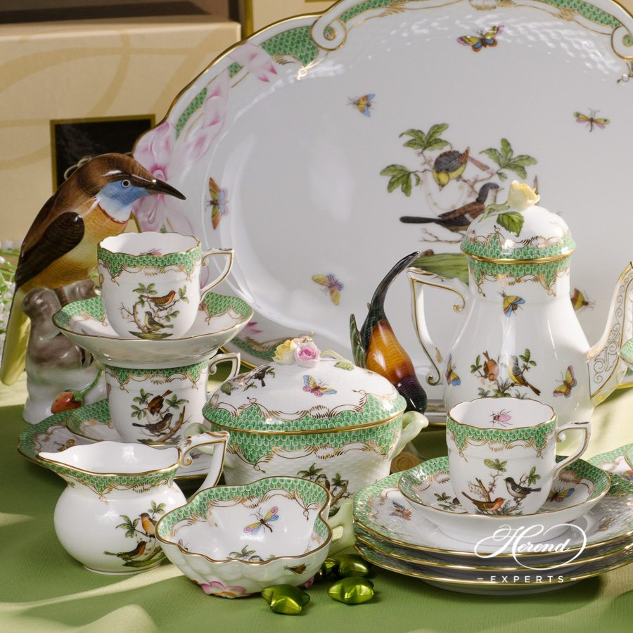 Coffee / Espresso Set for 6 Persons - Herend Rothschild Bird Green Fish Scale pattern. Herend fine china hand painted. Tableware