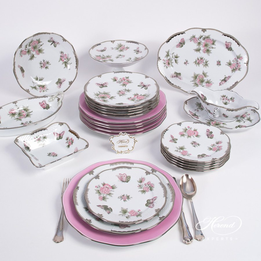 Dinner Set for 6 Persons - Herend Queen Victoria Platinum VBOG-X1-PT pattern. Classic Queen Victoria design w. platinum rim. Herend fine china hand painted