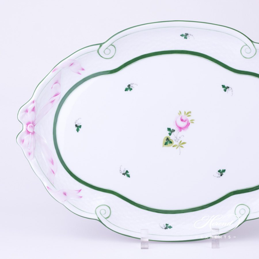 Tray with Ribbon 400-0-00 VRH Vienna Rose green pattern - Herend porcelain hand painted.