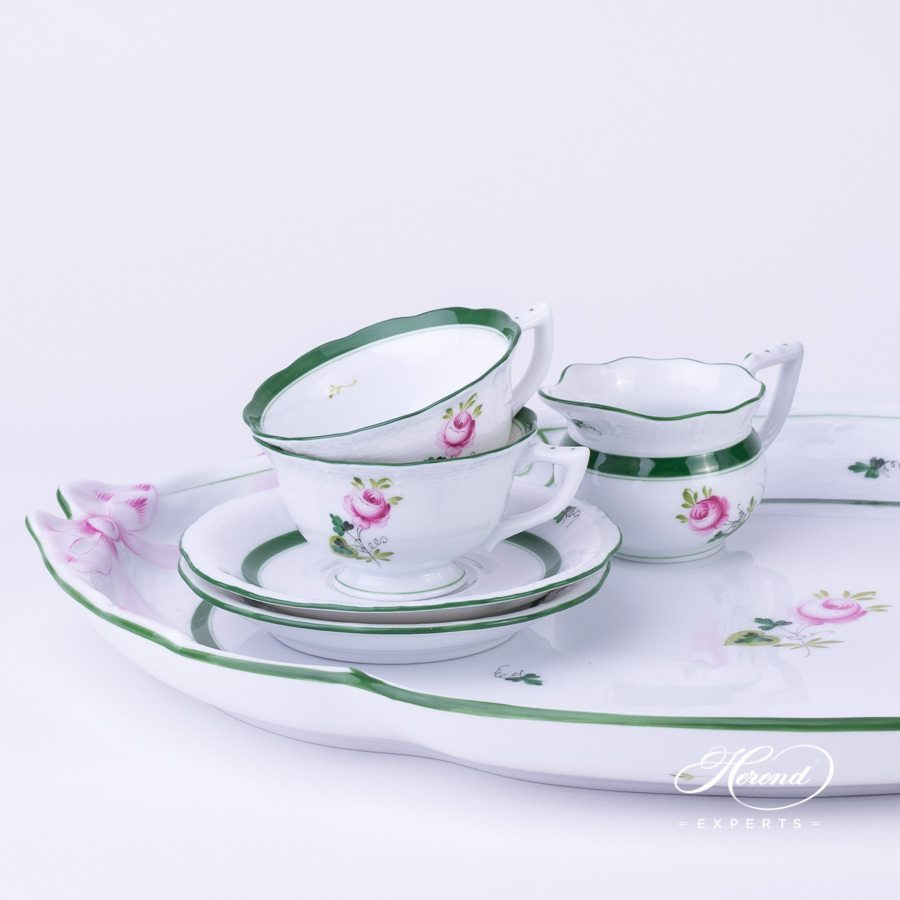 Coffee Set / Espresso Set for 2 Persons w. Ribbon Tray - Herend Vienna / Viennese Rose Green VRH pattern. Herend fine china hand painted