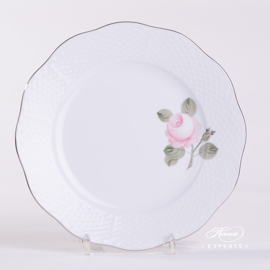 Dessert Plate 517-0-00 VGRS-PT Vienna / Viennese Rose Platinum Simple pattern. Herend fine china hand painted. Modern version of Viennese Rose design