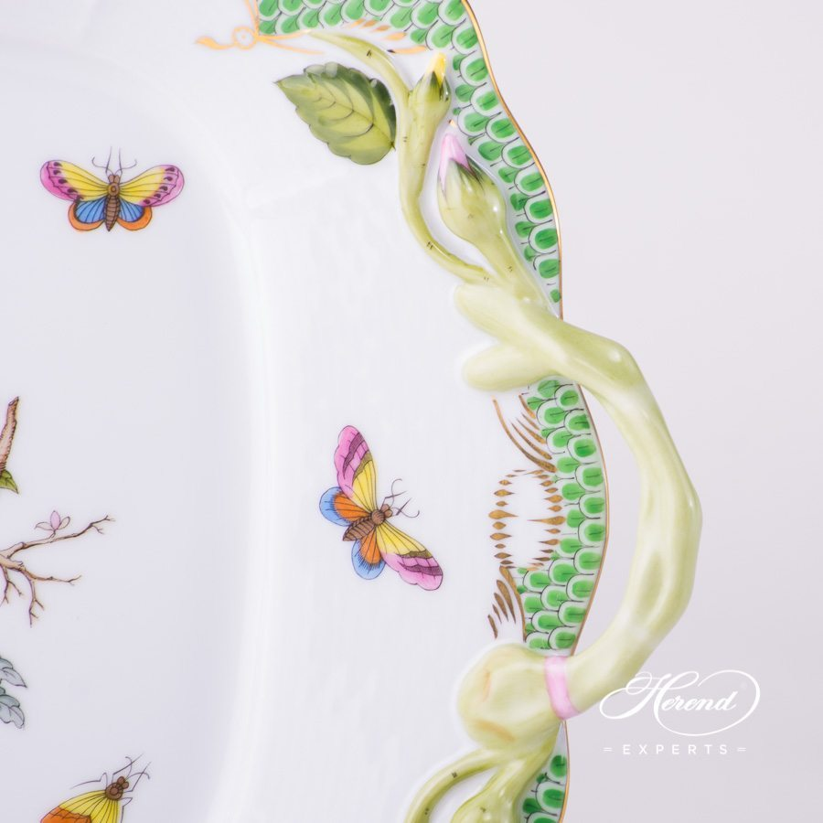 Cake Platewith Handles 430-0-00 RO-ETV Rothschild Bird Green Fish Scale pattern. Herend fine china hand painted. Tableware