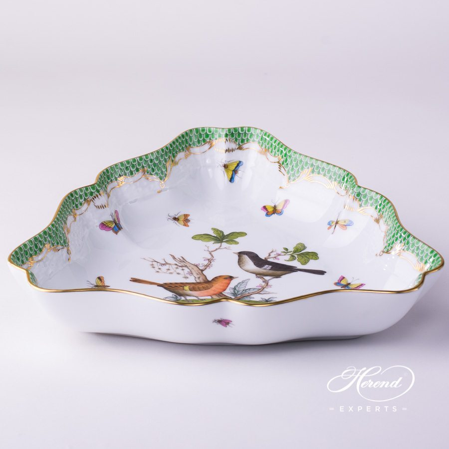 Salad Dish 191-0-00 RO-ETV Rothschild Bird Green Fish Scale pattern. Herend fine china hand painted. Tableware