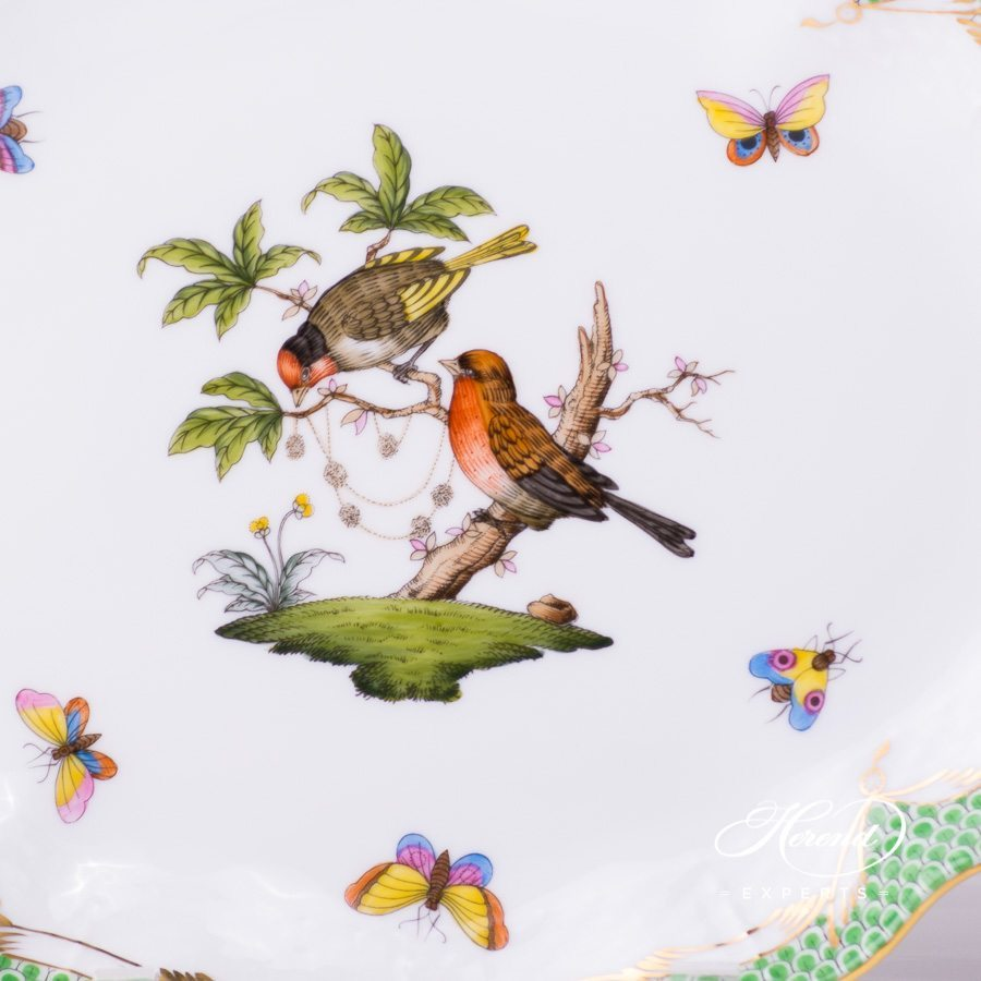 Oval Dish 211-0-00 RO-ETV Rothschild Bird Green Fish Scale pattern. Herend fine china hand painted. Tableware