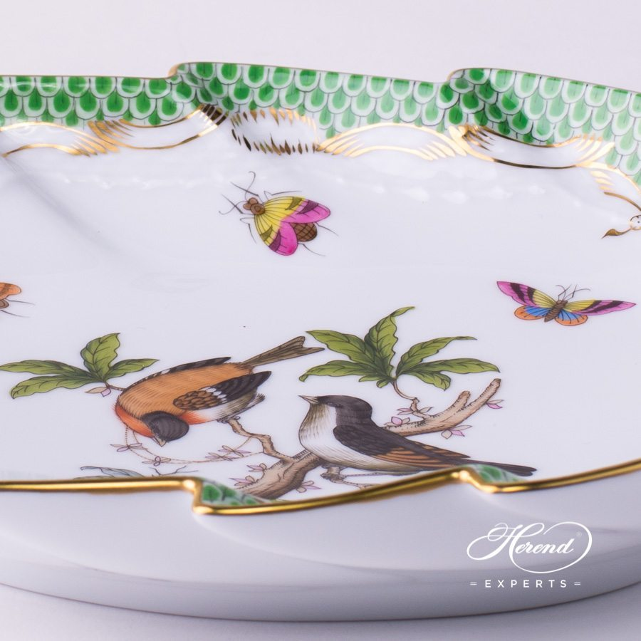 Leaf Dish w. Handle 200-0-00 RO-ETV Rothschild Bird Green Fish Scale pattern. Herend fine china hand painted. Tableware