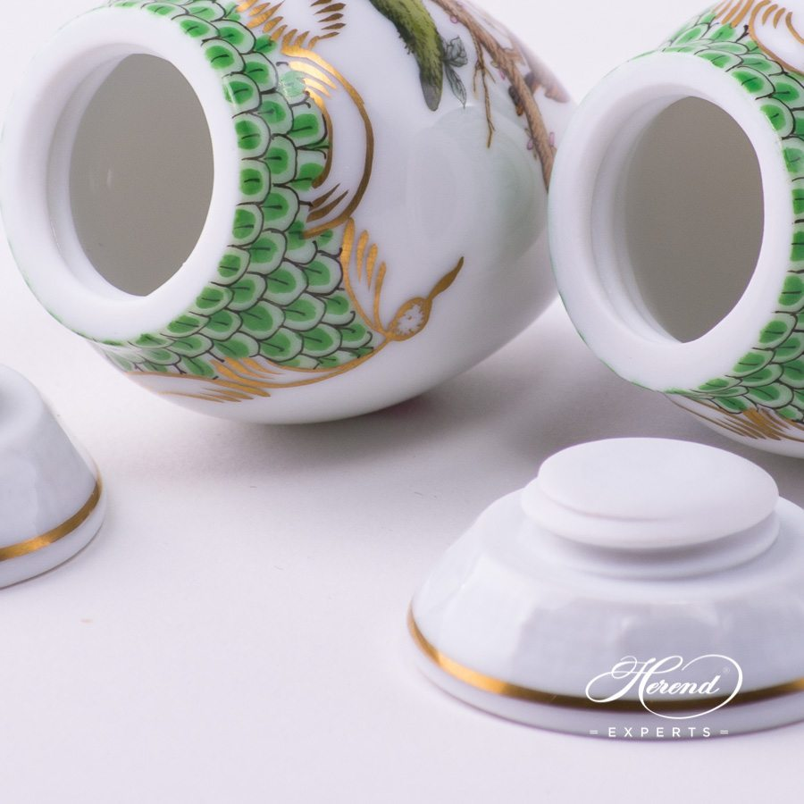 Salt and Pepper Shaker249-0-00 RO-ETV and 250-0-00 RO-ETV Rothschild Bird Green Fish Scale pattern. Herend fine china hand painted. Tableware