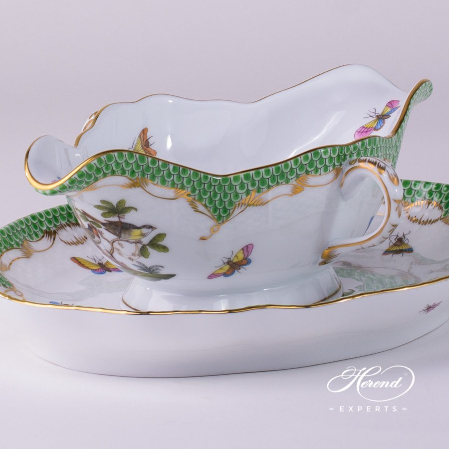 Sauce Boat with Oval Dish 220-0-00 RO-ETV and 211-0-00 RO-ETV Rothschild Bird Green Fish Scale pattern. Herend fine china hand painted. Tableware