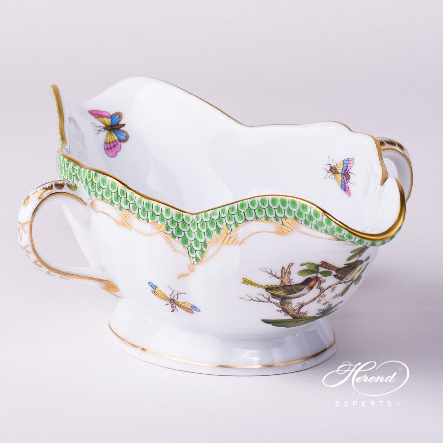 Sauce / Gravy Boat 220-0-00 RO-ETV Rothschild Bird Green Fish Scale pattern. Herend fine china hand painted. Tableware