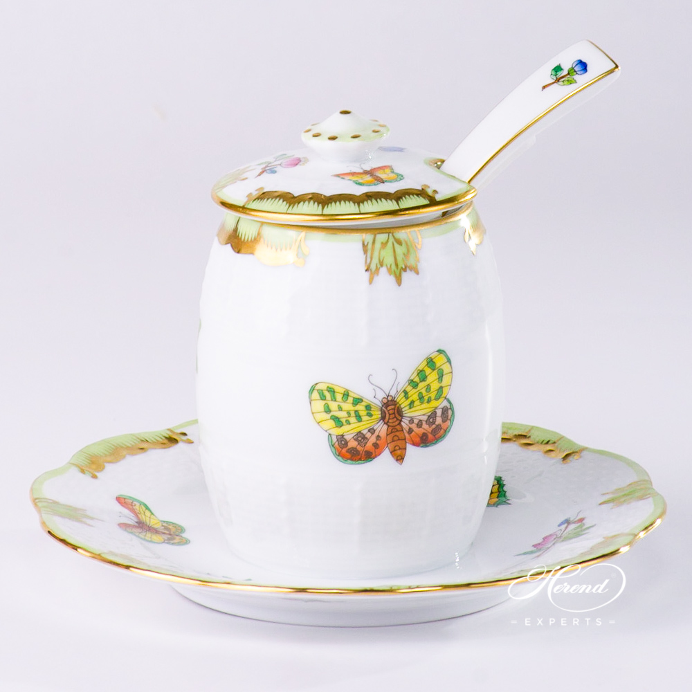 Mustard Pot with Spoon Queen Victoria VBA pattern - Herend porcelain.