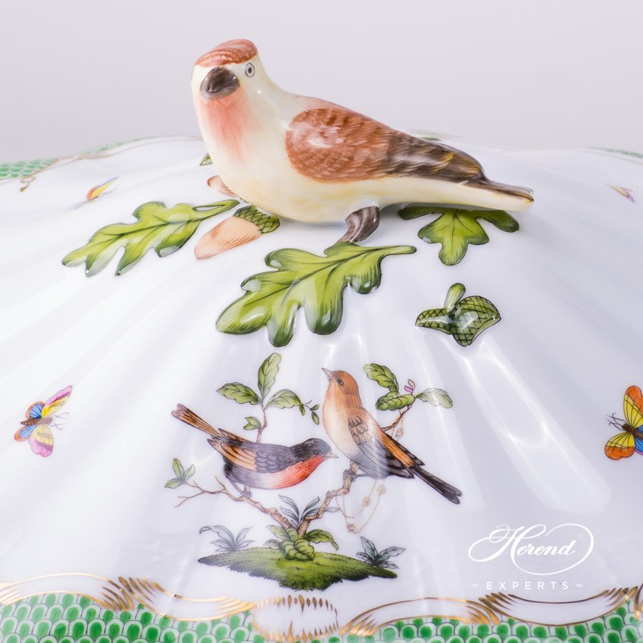 Vegetable / Ragout Dish w. Bird Knob 51-0-17 RO-ETB Rothschild Bird Green Fish Scale design. Herend fine china hand painted. Tableware