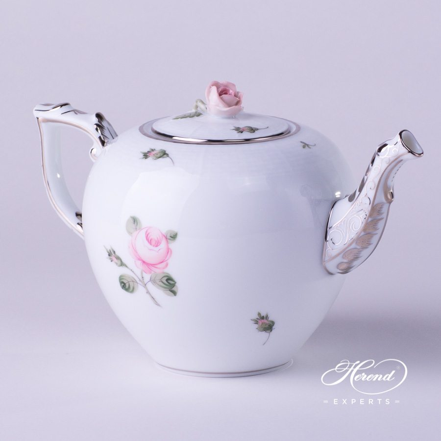 Tea Pot w. Rose Knob 605-0-09 VGR-PT Vienna Rose Platinum pattern. Herend porcelain hand painted