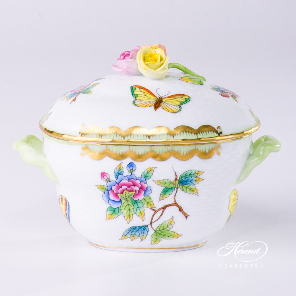 Sugar Basin w.Rose Knob 6012-0-09 VBO Queen Victoria design. Herend fine china tableware. Hand painted